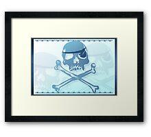 Blue Pirate Skull and Crossbones. Framed Print