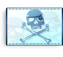 Blue Pirate Skull and Crossbones. Canvas Print