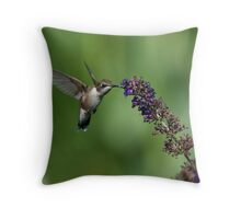 Hungry hummer 3 - hummingbird at butterfly bush Throw Pillow