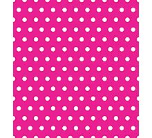 Small White Polka Dots on HotPink background Photographic Print