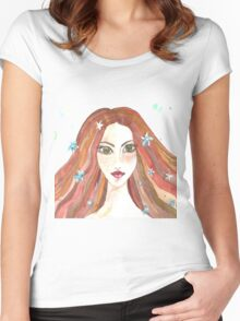 Hand drawn water color illustration of beauty girl with long hair. Women's Fitted Scoop T-Shirt