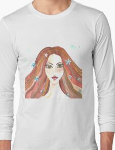Hand drawn water color illustration of beauty girl with long hair. Long Sleeve T-Shirt
