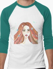 Hand drawn water color illustration of beauty girl with long hair. Men's Baseball ¾ T-Shirt