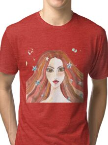 Hand drawn water color illustration of beauty girl with long hair. Tri-blend T-Shirt