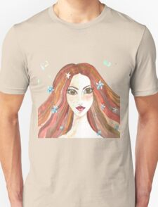 Hand drawn water color illustration of beauty girl with long hair. Unisex T-Shirt