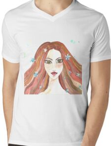 Hand drawn water color illustration of beauty girl with long hair. Mens V-Neck T-Shirt