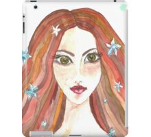 Hand drawn water color illustration of beauty girl with long hair. iPad Case/Skin