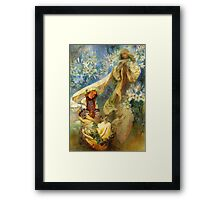 Alphonse Mucha - Madonna of the lilies Framed Print