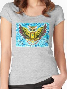 Owl In Blue Women's Fitted Scoop T-Shirt