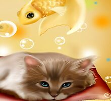 CAT WITH FISH by Mominsminions