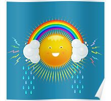 FUNNY SUN IN THE HEADPHONES OF THE RAINBOW. Poster