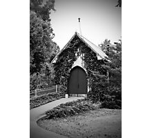 The Little Old Church in Black and White Photographic Print