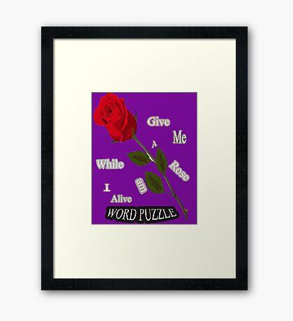 Word Puzzle - Rose Framed Print