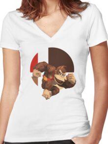 I Main Donkey Kong Women's Fitted V-Neck T-Shirt