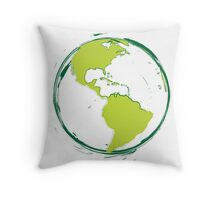 Green Planet Earth Throw Pillow