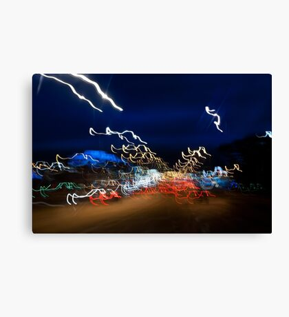 Cars driving motion night lights Canvas Print