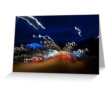 Cars driving motion night lights Greeting Card