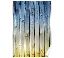 Blue yellow toned boards texture Poster