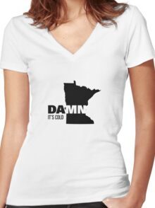Apathetic State Advertising - Minnesota - DAMN It's Cold Women's Fitted V-Neck T-Shirt