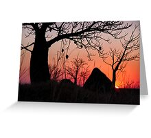 Boab and termite mound sunset Greeting Card