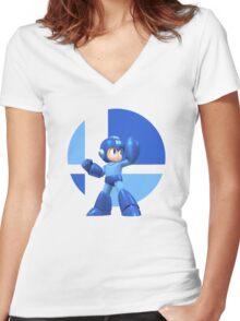 I Main Mega Man Women's Fitted V-Neck T-Shirt
