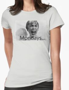 Hitchcock hates mondays. Womens Fitted T-Shirt