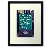 Free Drinks at the Pub Framed Print