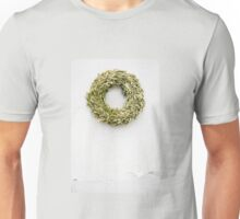 Dried Buxus wreath on white wall Unisex T-Shirt