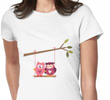 Love Owls on Tree Branch Womens Fitted T-Shirt