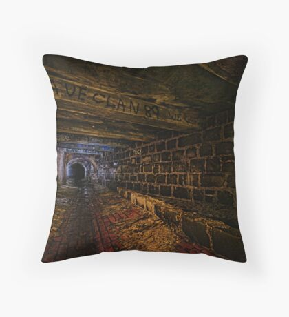 Sly Cured Pig Goes Underground Throw Pillow