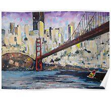 Golden City, Red Bridge, No Gate Poster