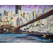 Golden City, Red Bridge, No Gate Photographic Print