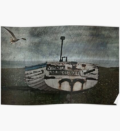 Boat and a bird Poster