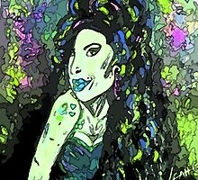Amy Winehouse portrait (Greens) by LeahG by Leah G