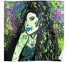 Amy Winehouse portrait (Greens) by LeahG Poster