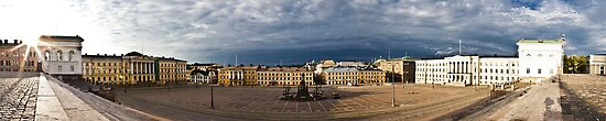 Panoramic view of sunrise over Helsinki Senate Square by Juhana Tuomi