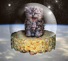 Kitten on a Rice Krispie Treat in Space by GolemAura