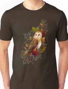 Autumn Barn Owl and Maple Leaves Unisex T-Shirt