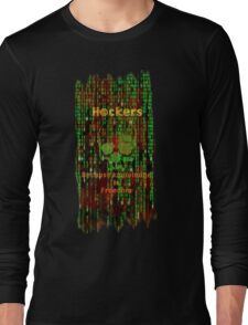 Hacker 1.1 - Knowledge is Freedom skull and matrix - Software, coding and hacking designs Long Sleeve T-Shirt