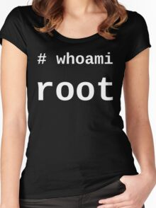 whoami root - White on Black for System Administrators Women's Fitted Scoop T-Shirt