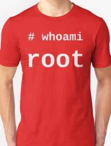 whoami root - White on Black for System Administrators T-Shirt