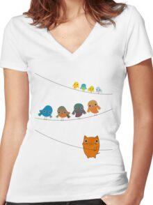 Cat Climbing Women's Fitted V-Neck T-Shirt