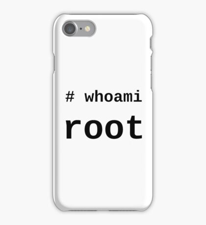 whoami root - Black on White for System Administrators iPhone Case/Skin