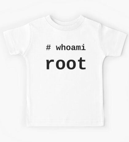 whoami root - Black on White for System Administrators Kids Tee