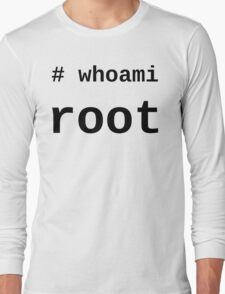 whoami root - Black on White for System Administrators Long Sleeve T-Shirt