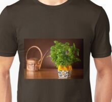 basil plant in decorative flowerpot Unisex T-Shirt