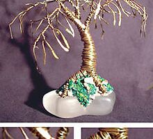 Bonsai with Leaves - Mini Wire Tree Sculpture  by Sal Villano