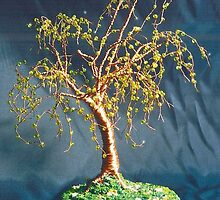 Elm on Lawn - Beaded Wire Tree Sculpture  by Sal Villano