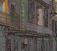 "New Orleans - Bourbon Street with ""Pencil"" Effect by Frank Romeo"