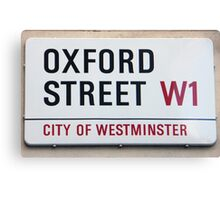 Oxford Street W1 Sign Canvas Print